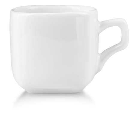 White ceramic mug for coffe. Isolated on a white.