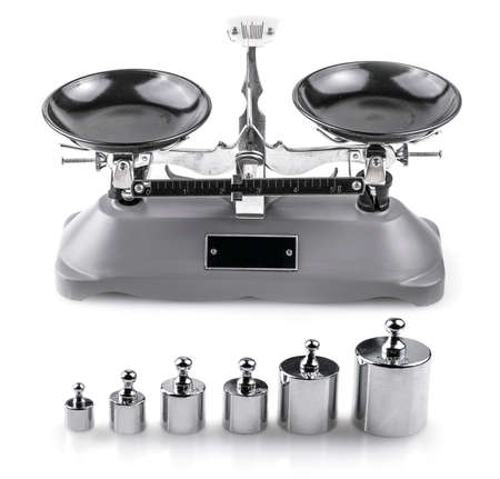 Gray Laboratory scales and weights on white background