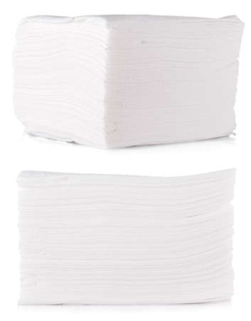 The Stack of folded disposable paper tissues on white background Imagens