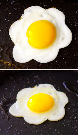 The tasty beautiful food fried egg in the black pan Stock Photo