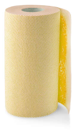 The roll of yellow colored wrapping foil isolated on white background Imagens