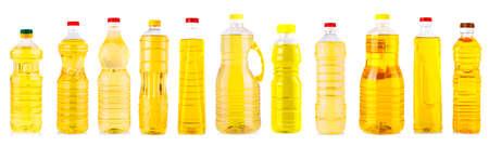 Set of Bottles of sunflower oil isolated on white background Imagens