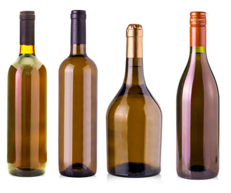 The  bottles of wine  isolated on white background