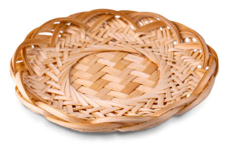 Wicker dish isolated on a white background
