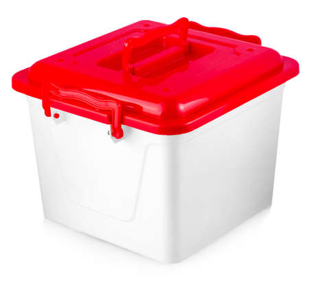 White plastic box with red cover on white background