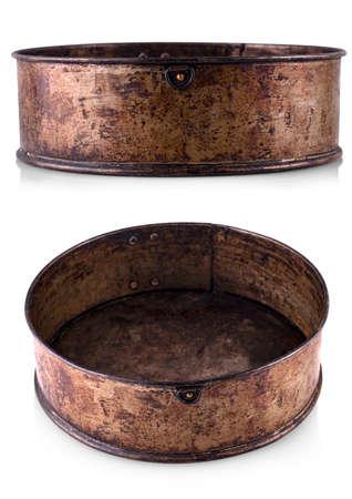 Old fluted tube baking pan isolated on white Reklamní fotografie
