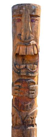 Kamchatka Aboriginal totem pole on white Standard-Bild - 124955834
