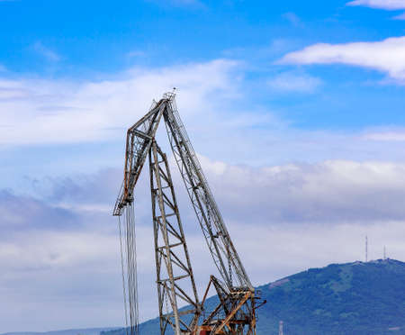 the crane on blue sky background