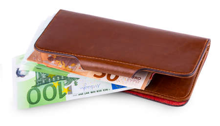 The leather wallet and withdrawing European currency Stock Photo