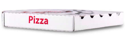 close up of a white pizza box template on white background