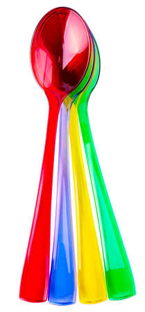 Colored plastic  spoons on white background Banco de Imagens - 124956047