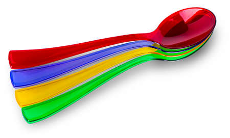 Colored plastic  spoons on white background Banco de Imagens - 124956048