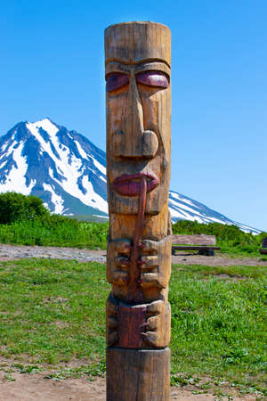 Kamchatka Aboriginal totem pole on the volcano