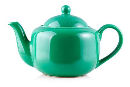 Grüner Teekanne Wasserkocher isoliert auf weißem Hintergrund