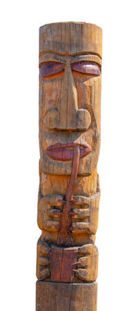 Kamchatka Aboriginal totem pole on white Standard-Bild - 124956105