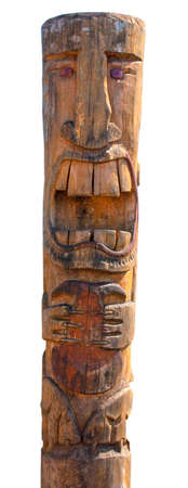 Kamchatka Aboriginal totem pole on white Standard-Bild - 124956106
