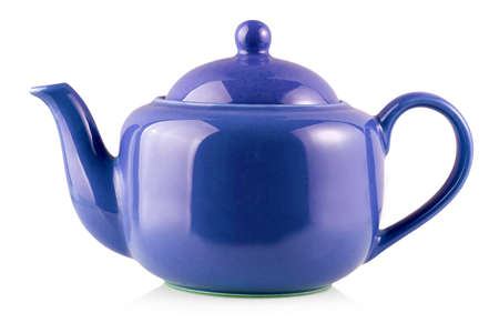 Blue Teapot Kettle Isolated On White Background Imagens