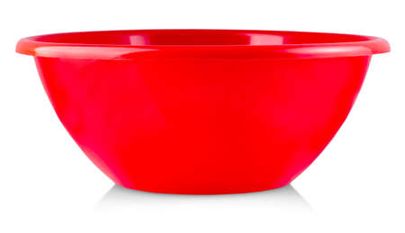 Red plastic bowl container isolated on white background Banco de Imagens