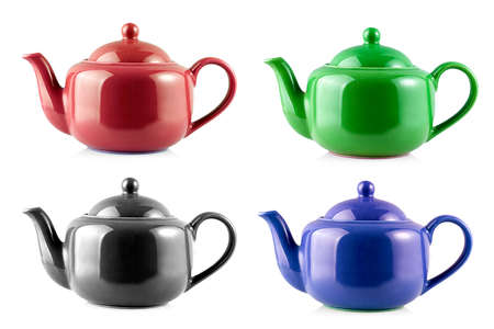 Set of Teapot Kettle Isolated On White Background Imagens