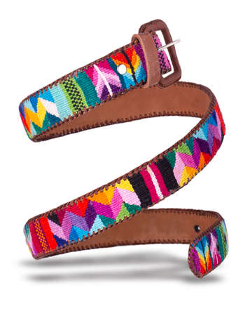 Leather Belt made of colored fabric from Ecuador coiled