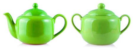 Colored Teapot Kettle and sugar bowl Isolated On White Background