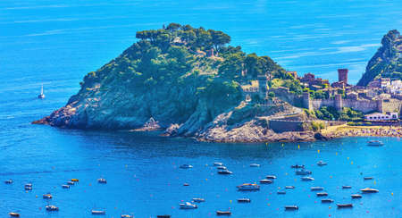 Tossa de mar castle and fortress in the old town and sea views Фото со стока