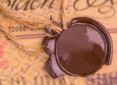 antique wax seal on the old document
