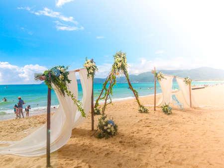 Romantic wedding ceremony on the beach Banco de Imagens