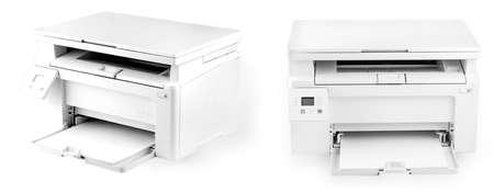 Modern white printer isolated on white background Stock Photo