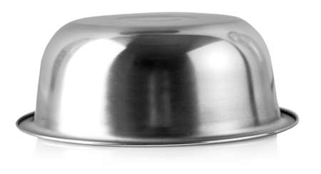 Stainless bowl on white background.
