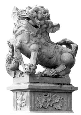 Chinese Imperial Lion Statue on white background