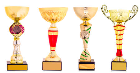 golden trophy isolated on white background
