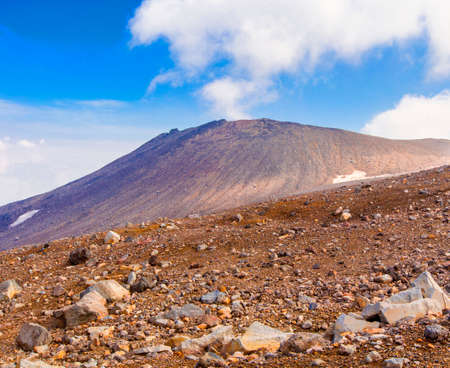 Stone plateau on the volcano Gorely on Kamchatka