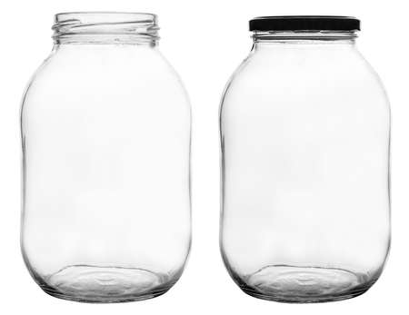 The empty glass jars isolated on white
