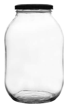 The empty glass jar isolated on white