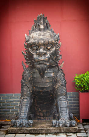 Sculpture of Chinese lion in Sanya, Hainan island