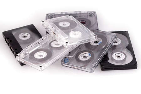 The vintage audio tapes over white background Banco de Imagens - 124957752