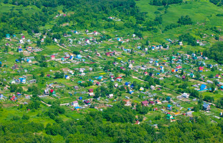 Small village at summer. Bird eye view