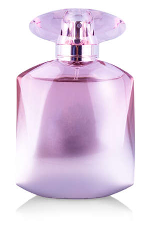 glass bottle of womens perfume on white