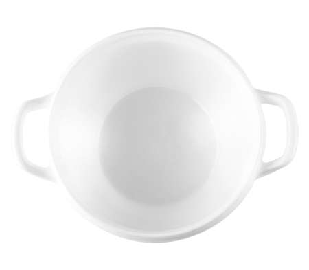Empty white ceramic bowl for soup, isolated on white background.