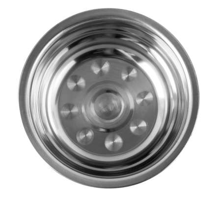 Stainless bowl on white background. Top view.