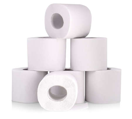 Roll of toilet paper or tissue isolated on white Stock Photo