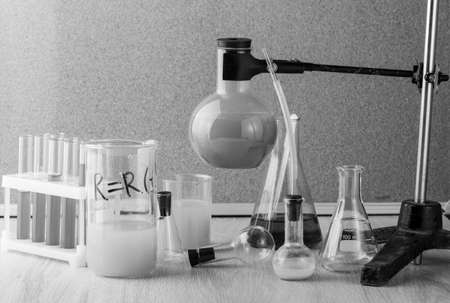 old style test tubes and glass bottle in chemistry laboratory Stock Photo
