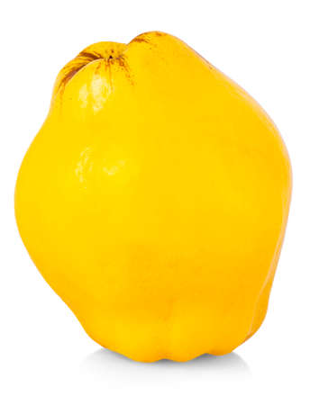 The fresh yellow quince isolated white background