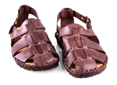 The leather brown mens sandals on white