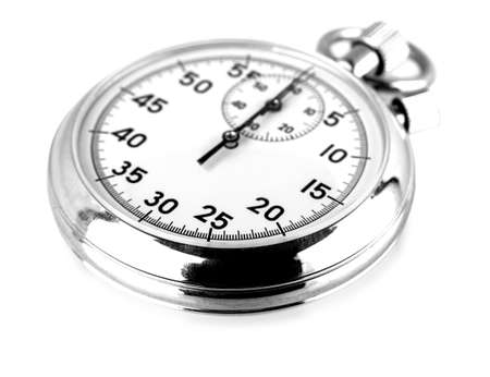 Old stopwatch isolated on white business concept