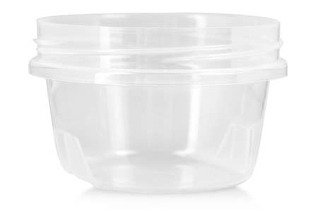 Opened transparent plastic food container. Catering food packaging. 스톡 콘텐츠