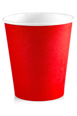 Red paper cup isolated on white background