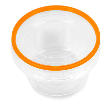 Transparent plastic food container with red cap. Catering food packaging.