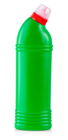 green plastic bottle with household cleaning products isolated on white background Banque d'images